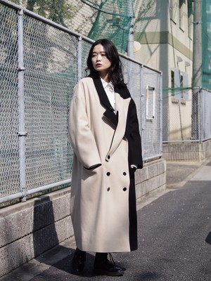 【予約アイテム】disemBySiiK ASYMMETRY LAPEL COAT black-beige