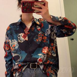 【トップス】絶対流行韓国系折襟ショート丈プリントシングルブレストシャツ38261900