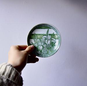 【印判小皿-菖蒲×蝶-】雷文 転写 レトロ