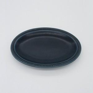 パンとごはんと... (Bread and Rice) RIM DOTS OVAL PLATE (リムドット オーバルプレート) Sサイズ 【ネイビー】