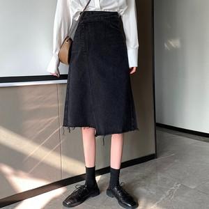 【ボトムス】夏レトロ合わせやすいエイジング加工不規則デニムスカート