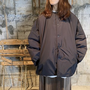 HYKE【ハイク】 NYLON OXFORD COLLARLESS BIG JACKET (17272/BLACK).