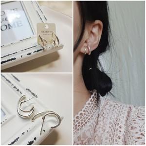 即納 送料無料 ピアス シルバー925 silver925 フープピアス 2連ピアス シンプルピアス 人気 韓国ファッション パーティーアクセサリー オルチャン juju-p0008
