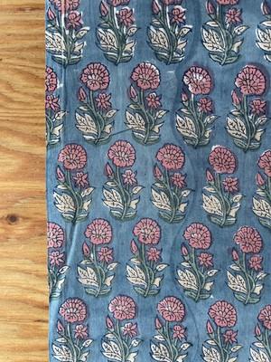 【NEW】Block print  ブルーグレー地に桃色のお花
