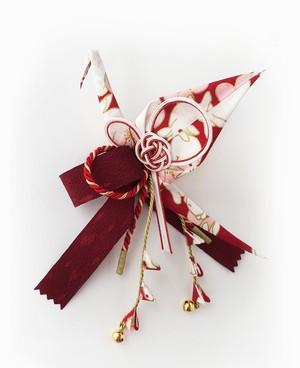 織り鶴カチューシャ 2【赤×白 うさぎ柄】