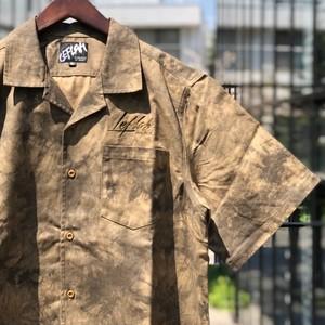 LEFLAH / レフラー | 《予約受付中》MADARA TIEDYE OPEN COLLOR SHIRT - brown / まだらタイダイオープンカラー半袖シャツ
