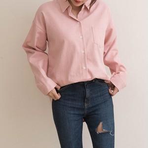 シンプル アシンメトリーコットンシャツ (2カラー)