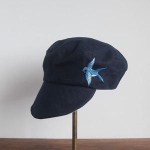 ツバメ刺繍の定番キャスケット 青系・生成り3種