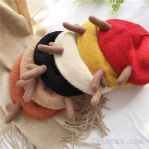 【小物】韓国系無地切り替え暖かい帽子25101036