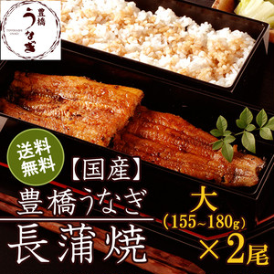 国産 豊橋うなぎ蒲焼き 大155-180g×2尾 たれ・山椒付
