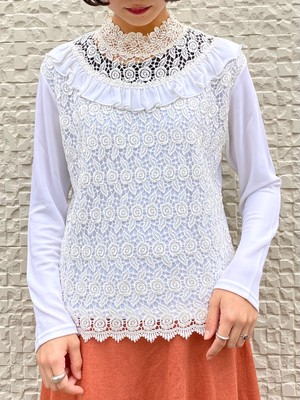 (TOYO) design lace high neck tops