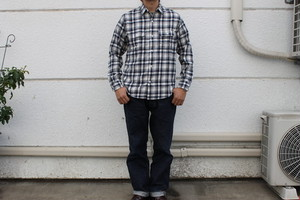 WORKERS / Indigo Check Big Work Shirts
