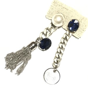 【 UNSEABLE 】Chain tassel earrings Blue