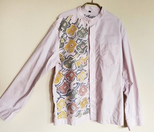メンズ スタンドカラーシャツマカフェリ柄灰桜色 SHI-0012