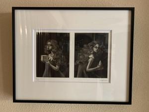 山城有未「Twins」 銅版画 メゾチント 額付き(24.5×31cm)