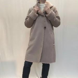 お買い得♡ キュート! きれい色フェイクムートン+ダウン パーカーコート 【送料無料】