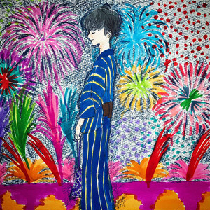 #131_Japanese summer night_182x182mm<Drawing>