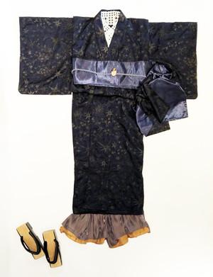 【レースキモノ】星刺繍レースBLACKxNAVY Sサイズ