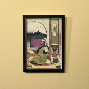 すとり〜と百景『不二見絵描き部屋』浮世絵額装(A4サイズ)