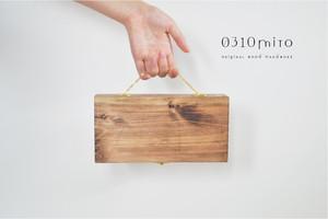 ≪携帯用≫国産ひのきの木製マスクケース≪持ち運び可・仮置き用≫(ゴールドの金具)