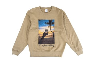 【graphic relaxed sweat】/ sand khaki