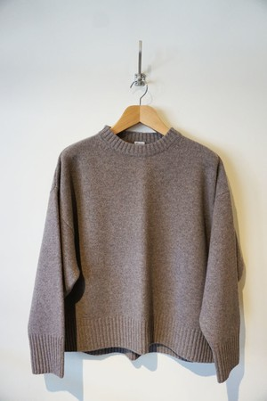 MERINO WOOL CREW NECK KNIT [ GRAY ]