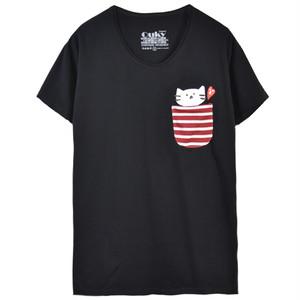 もずにゃん ポケット Tシャツ【ブラック】