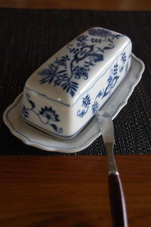 【国産ヴィンテージ】ブルーダニューブ バターケース【バターナイフをセット】