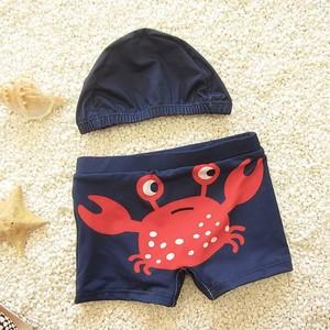 9369男の子 ショートパンツ  スイムキャップ 水泳帽子 サーフパンツ 海パン 子供用 こども ベビー水着キッズみずぎ スイミング ウェア 男児 男子ジュニア 小学生 カニ柄