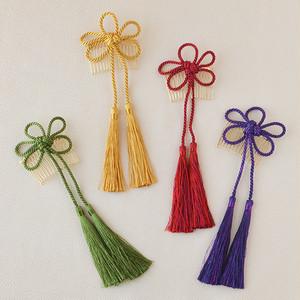 飾り組紐・梅結びタッセルコーム髪飾り[wa079]赤 黄 緑 紫