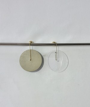 Leather and Transparent round earrings 1