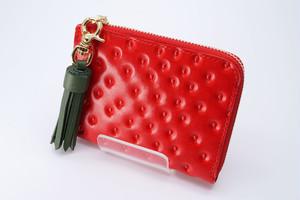 薄型!いちごなL字ファスナーミニ財布(牛革製)/「ヘタッセル」引き手タイプ