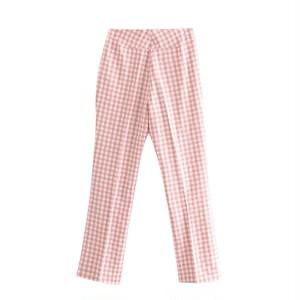 pink check pants