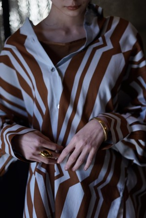 pelleq / Cotton silk hand printed shirt( soil )