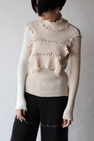 【kotohayokozawa】rib knit high neck-beige
