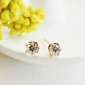 K18 シンプル ダイヤモンドピアス 両耳0.2ct