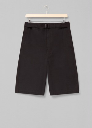 LEMAIRE BELTED SHORTS 999 BLACK X 211 PA170 LF575