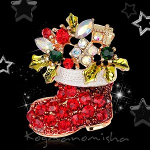 新品☆キラキラのクリスマスブーツ ポインセチア お花 ラインストーン エナメル ブローチ,プレゼントに♪