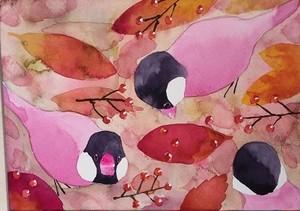 【絵画】バイオレット文鳥(木製パネルに水彩画、リース中、売却不可)