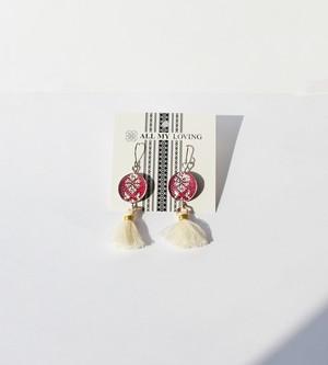 博多織樹脂フックピアス (RPA-1) アメリカン 紫 パープル フリンジ タッセル 白 レジン 和装 着物 博多献上