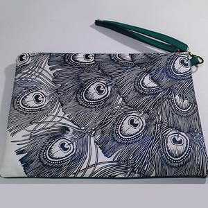 クラッチバッグ 緑の孔雀
