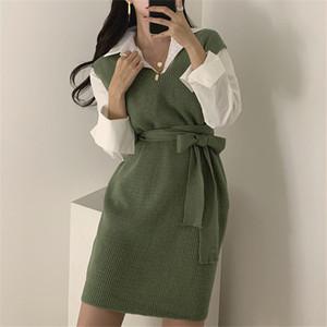 【セットアップ】無地長袖シャツ+ベルト付き韓国系ニットワンピース