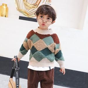 【トップス】北ヨーロッパ系厚手保温幾何模様男の子セーター25480512