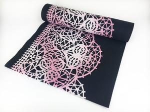 未仕立て反物・注染浴衣「トランプレース」ブラック×ピンク