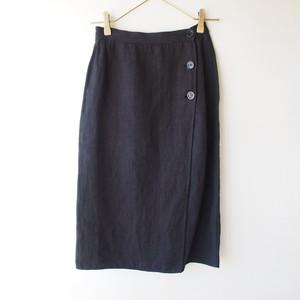 vintage black linen wrap skirt