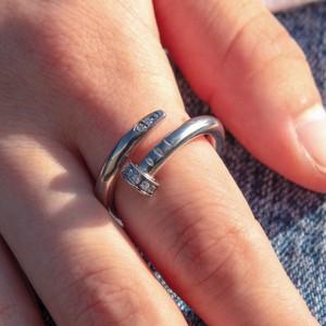 316L Zircon Nail Ring 【SILVER】