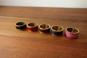 真鍮×イタリアンレザーのリング