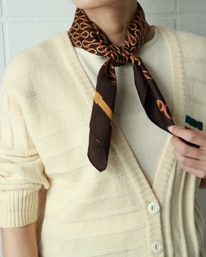 OLD GUCCI horse bit brown scarf