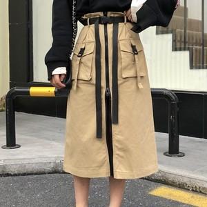 【ボトムス】ファッションファスナーベルト付きスカート21297287