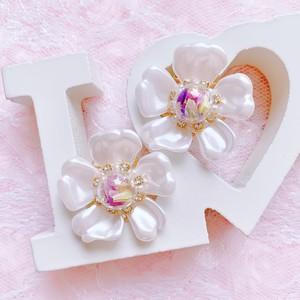 【earrings】Botanical glass 〜YUKInoHANA〜